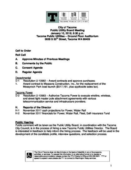2018-jan-10-agenda-regular-meeting - Tacoma Public Utilities